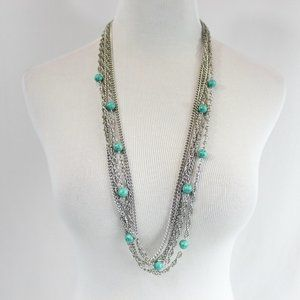 Jewelry - Silver Multi-strand Chain Necklace Turquoise Beads